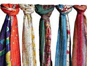scarf,scarves,indian stole,kantha scarf,silk shawl,stole,women scarfs,multicolor scarf