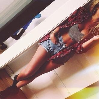 shirt boots oversized shirt high waisted denim shorts shorts crop tops drmartens fashion stylish summer casual girly tank top