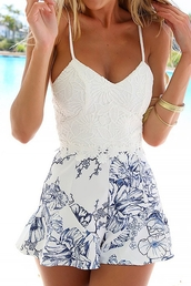 romper,dress,white,crochet,spliced,jumpsuit,top,lace,zaful,summer,casual,style,hot,fashion,summer outfits,streetwear,classy,trendy,stylish,blue,pattern,beautiful,skirt,floral,pretty