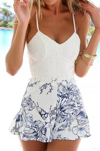 romper dress white crochet spliced jumpsuit