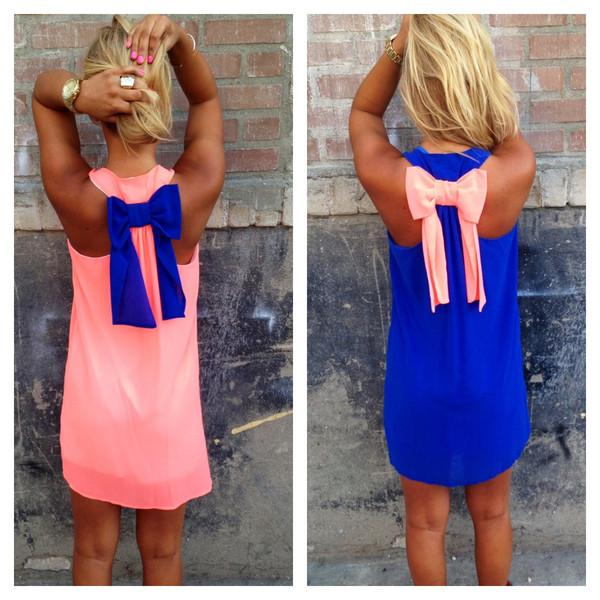 Neon two tone bow tank dress