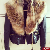 jacket,river island,skin jacket,fur,coat,fury,faux fur,leather jacket,classy,warm,pockets,black