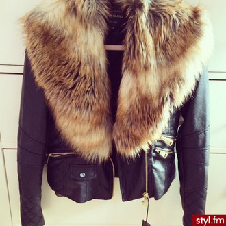 jacket river island skin jacket fur coat fury faux fur leather jacket classy warm pockets black