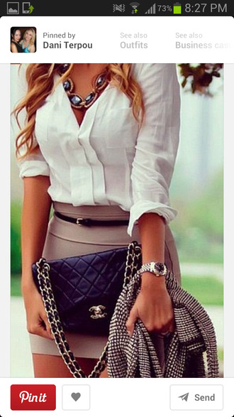 skirt taupe tight blouse clothes classy woman fashion jewels bag jacket shirt white blouse bodycon skirt silk casual stylish light brown skirt button button up classy