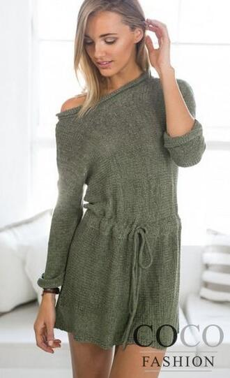 dress sweater dress knitted sweater knitted dress romper knitwear cozy fall outfits fall dress off the shoulder khaki robe streetstyle zaful