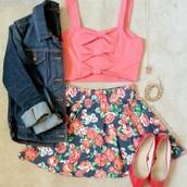 shirt,tank top,top,bow back shirt,floral,floral skirt,crop tops,skater skirt,skirt,circle skirt,flats,shoes