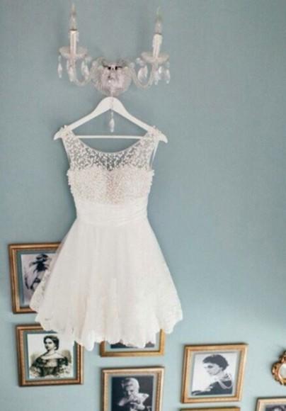 pearls white dress lace dress