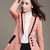 Pink Long Sleeve Contrast Trims Slim Blazer - Sheinside.com