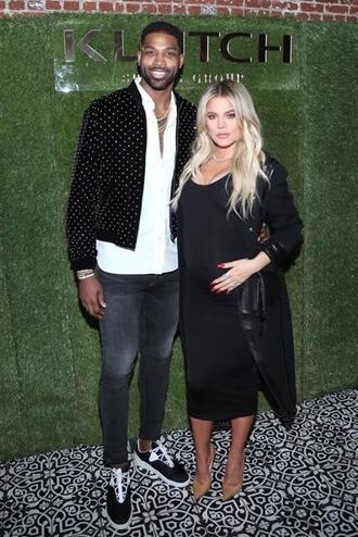 dress midi dress black dress maternity khloe kardashian kardashians pumps bodycon dress