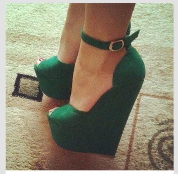 Shoes: emerald green, green, wedges, heels, high, sex, sexy, tall ...