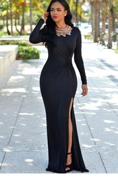 dress,long sleeves,long sleeve dress,evening dress,evening outfits,prom dress,long prom dress,prom gown,slit dress,maxi,maxi dress,black prom dress,black,black dress,long evening dress,party dress,cute dress,girly dress,classy dress,elegant dress,cocktail dress,date outfit,birthday dress,graduation dress,prom,mermaid prom dress,engagement party dress,long sleeve prom dress,prom dress 2016