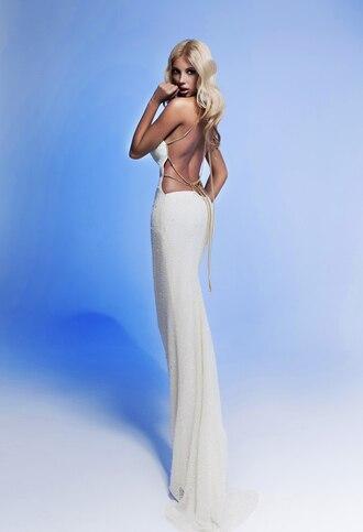 dress open back elegant white dress gold long dress belt