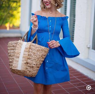 dress tumblr blue dress off the shoulder off the shoulder dress button up bag woven bag necklace jewels jewelry