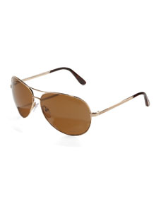 Charles Polarized Aviator Sunglasses, Rose Gold