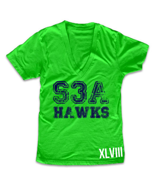 T shirt seahawks super bowl seattle neon green and for Bright green t shirt dress