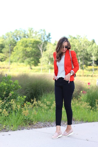 lilly's style blogger jacket t-shirt jeans shoes bag jewels stripes striped top orange blazer black pants black jeans pink work outfits