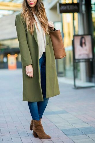 coat tumblr green coat shirt white shirt denim jeans blue jeans boots brown boots pointed boots bag brown bag