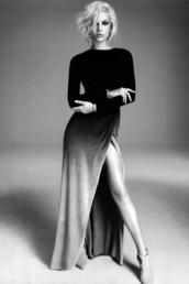 maxi dress,formal,blonde hair,black and white dress,black and white,geometric,long sleeves,long sleeve dress,elegant,ombre,velvet,slit dress