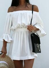 dress,white,summer,off the shoulder,minimalist,summer dress,white dress,festival,fashion,chic,cute
