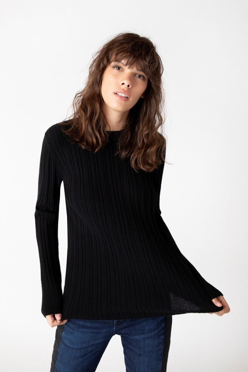 Skyler Crew Neck Sweater In Black Cashmere