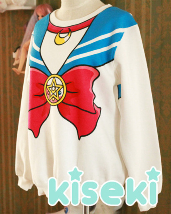 sweater cute sailor moon anime vintage lovely ribbon kiseki kisekishop cute sweaters