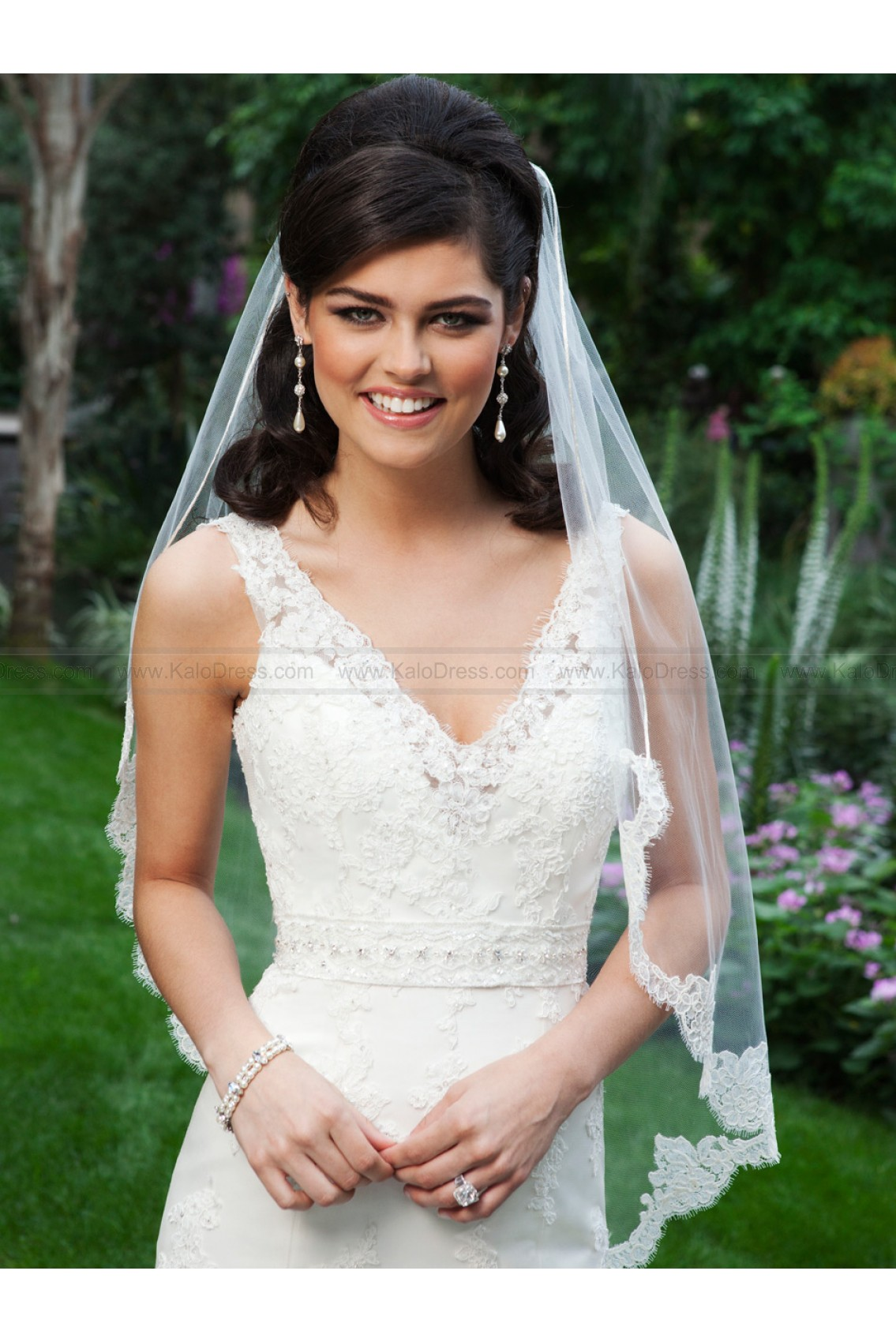 V-Neck Lace Accent Mermaid Bridal Dress by Sincerity 3735 - Beach Wedding Dresses - Informal Wedding Dresses