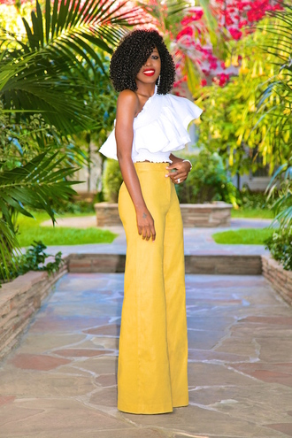 blogger top pants shoes wide-leg pants yellow pants spring outfits blouse