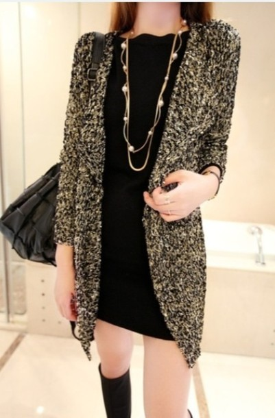 Sweater: black gold sparkle long cardigan - Wheretoget
