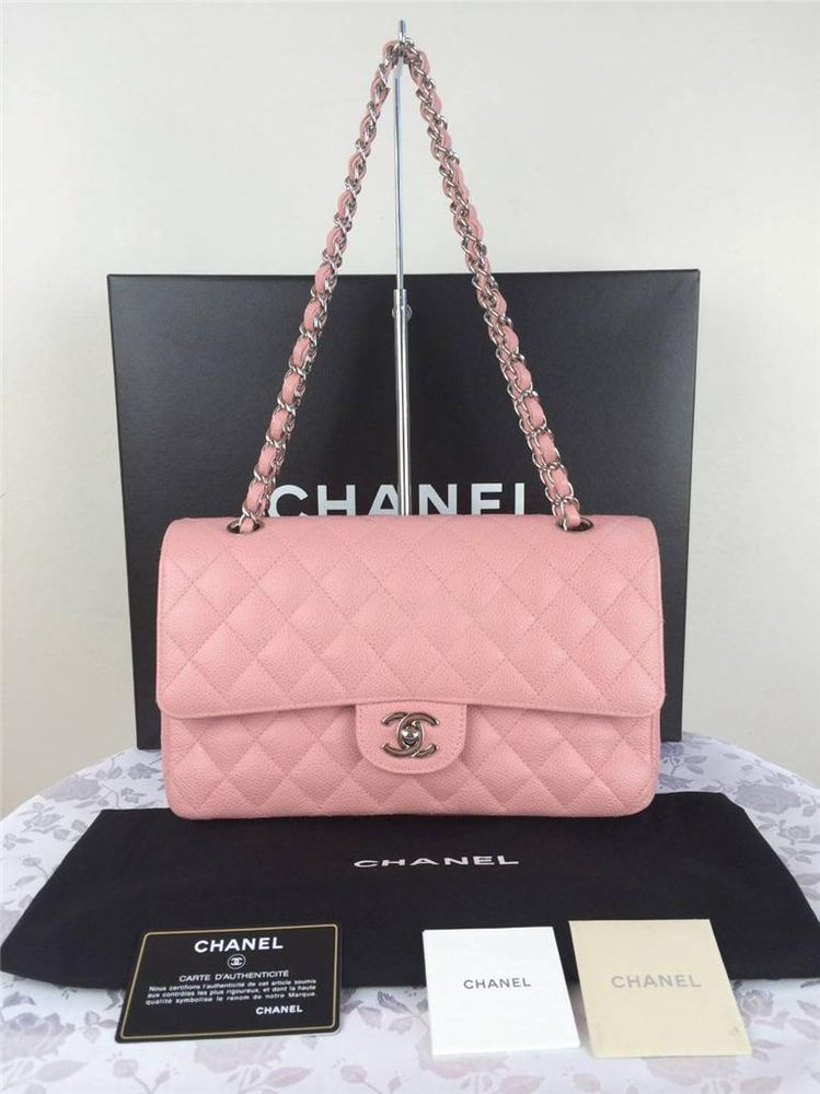 Authentic Chanel 2 55 Pink Caviar Silver H Ware Classic Medium Double Flap | eBay