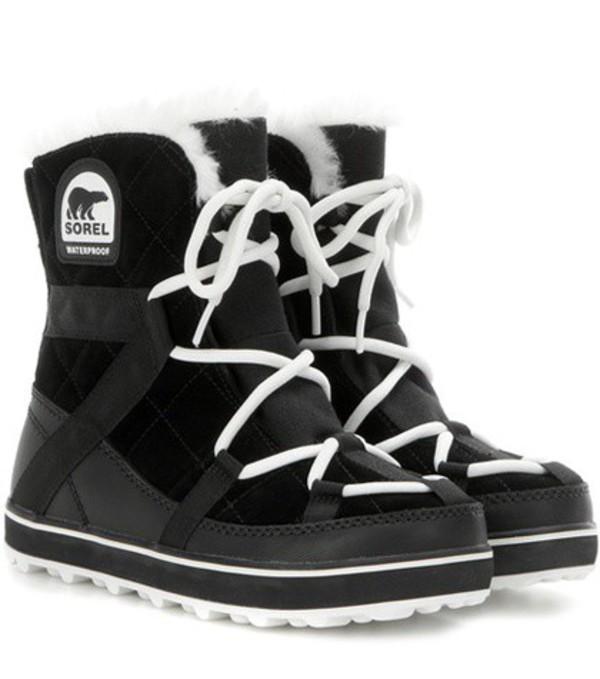 Sorel Glacy Explorer Shortie suede boots in black