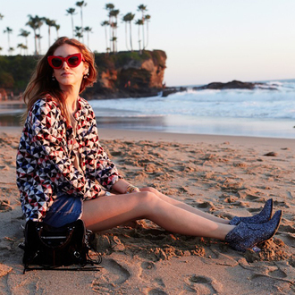 jacket designer beach blogger spring jacket the blonde salad iro sea red sunglasses