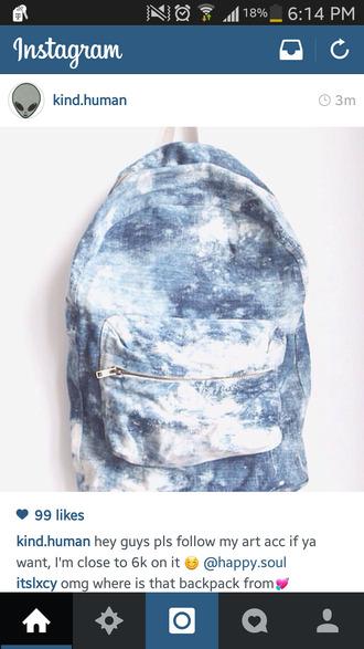 bag jeans bleached denim backpack school bag denim backpack
