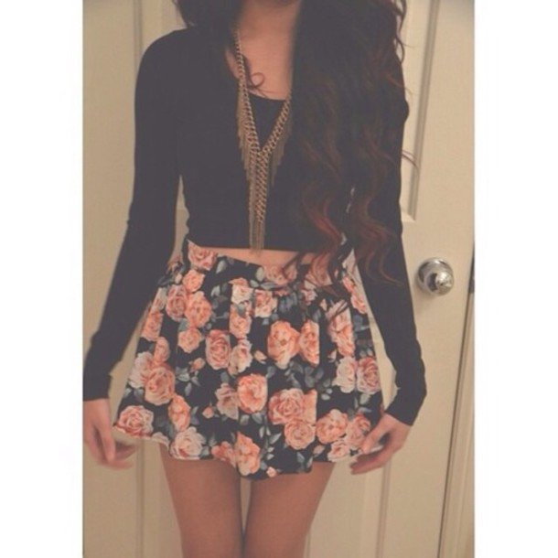 Skirt flower skirt shirt jewels romper justin bieber cute love this outfit necklace ...