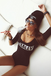 bodysuit,black,sexy,swimwear,hat,blouse,shirt,chanel,top,jumpsuit,black and white bodysuit