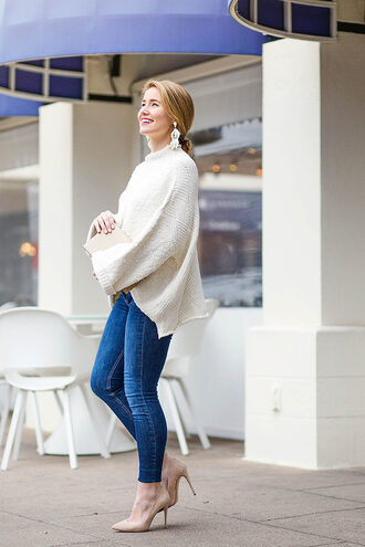 a lonestar state of southern blogger top sweater bag jewels shoes jeans winter outfits skinny jeans pumps