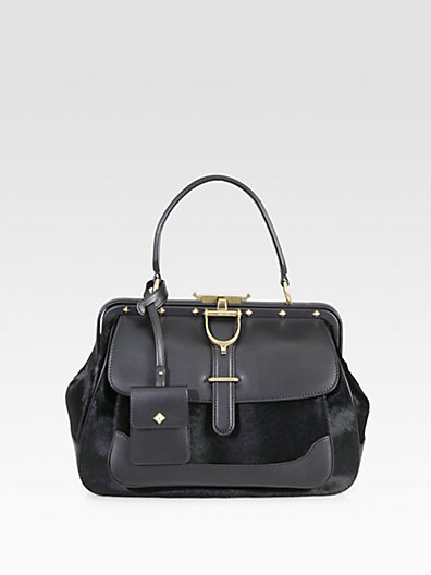 Gucci - Lady Stirrup Medium Calf Hair & Leather Top Handle Bag - Saks.com