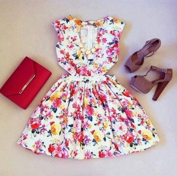 dress floral cutout colorful shoes flowers cute dress jewels