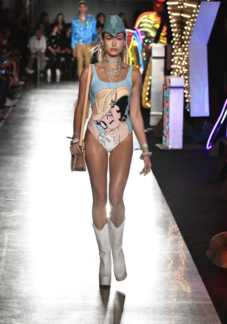 swimwear boots hailey baldwin one piece swimsuit hat runway model moschino purse jewels choker necklace