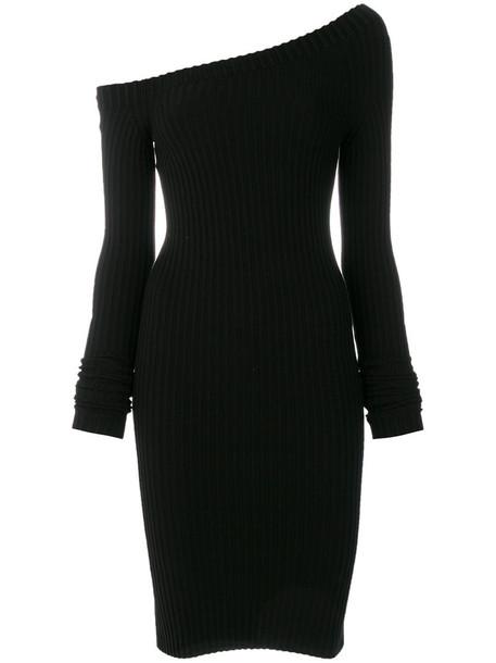 Helmut Lang dress one shoulder dress women spandex black silk