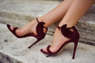 shoes style heels sandals wings red high heels oxblood burgundy burgundy high heels with wings