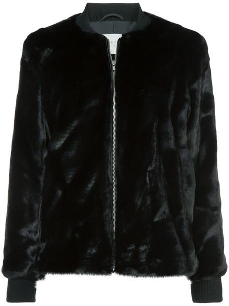 Just Female jacket bomber jacket fur faux fur women black