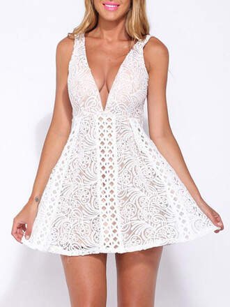 dress white sexy fashion style cleavage party summer lace mns girl girly girly wishlist white dress cute plunge v neck plunge dress plunge neckline deep v dress deep v v neck v neck dress