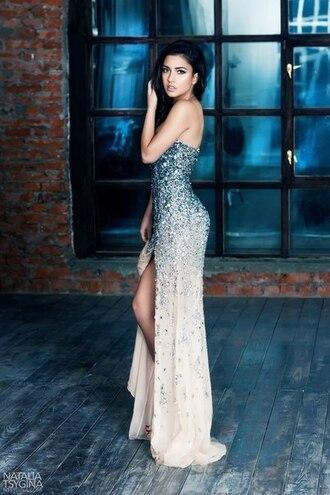 стразы платье dress sparkle blue blue dress white white dress ombre dress ombre evening evening dress girly prom dress prom