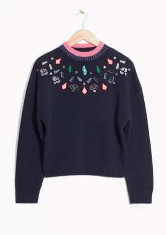 sweater holiday season thanksgiving embellished knitted sweater rhinestones