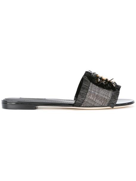 Dolce & Gabbana embellished sandals women embellished sandals leather black shoes