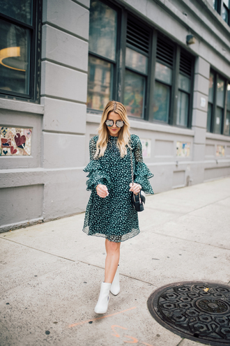 dress tumblr green dress long sleeves long sleeve dress boots white boots ankle boots bell sleeve dress sunglasses