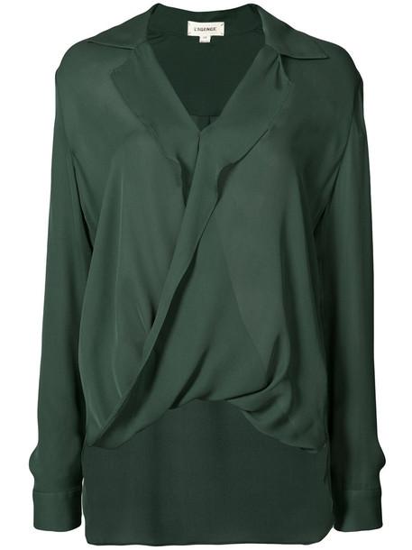 L'Agence shirt women silk green top