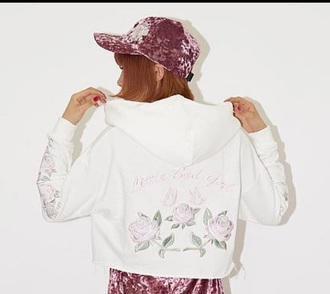 jacket embroidered embroidered jacket windbreaker roses embroidered roses cute girly white pink