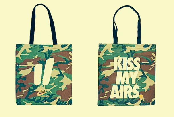 Cruel Explícitamente Comercial  bag, nike bag, camouflage bag, kiss my airs, street bag, nike, camouflage,  nike air, handbag - Wheretoget