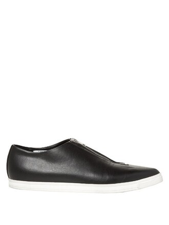 zip flats leather flats leather black shoes